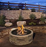 "Cast Stone Wood Burning Fire Pit 35"" Diameter Steel Base By Huntington Cove w/ 26"" Mesh Screen Spark Protector w/ Lift Hook, Large Heat Resistant Fire Bowl, Appealing Medium Brown Simulated Stone Base"