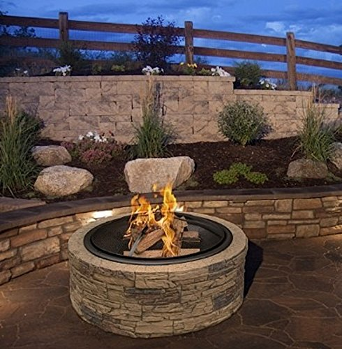 """Cast Stone Wood Burning Fire Pit 35"""" Diameter Steel Base By Huntington Cove w/ 26"""" Mesh Screen Spark Protector w/ Lift Hook, Large Heat Resistant Fire Bowl, Appealing Medium Brown Simulated Stone Base"""