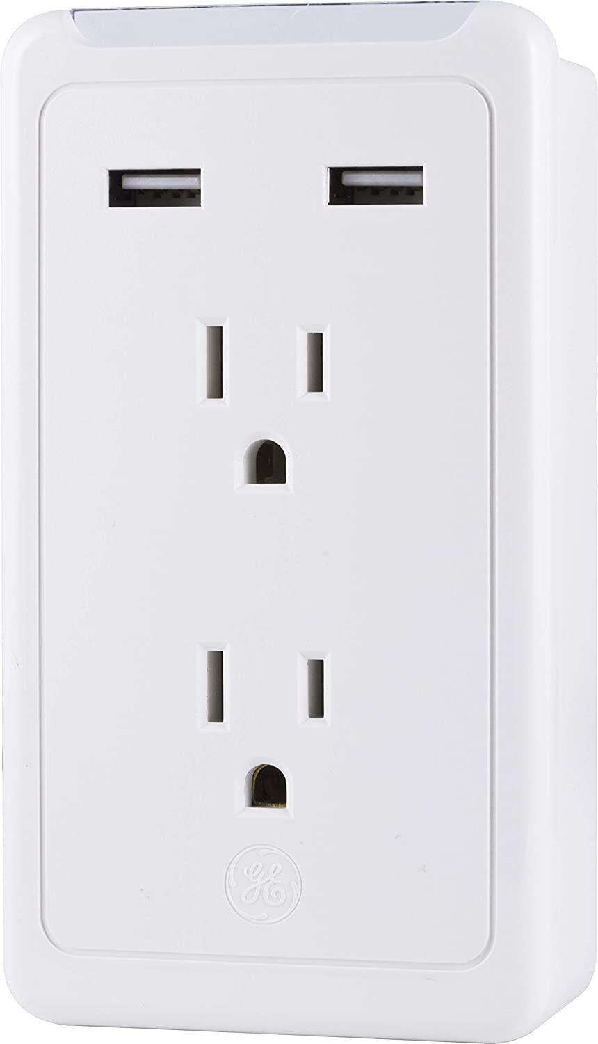 GE 2-Outlet 2 USB Port Plug-in Power Adapter, White, 27368