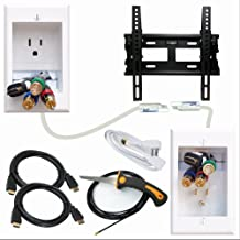 """PowerBridge Solutions ONE-CK-IKH2TVMS Single Outlet Cable Management System with Flat Screen LED TV Mount for 17-Inch to 37-Inch Television Screens Plus HDMI Cables, Cable Puller, and Drywall Saw"""