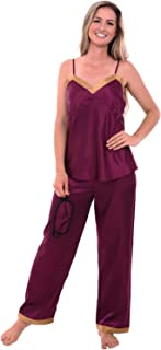 Womens Satin Pajamas, Cami Top Pj Set with Sleep Mask