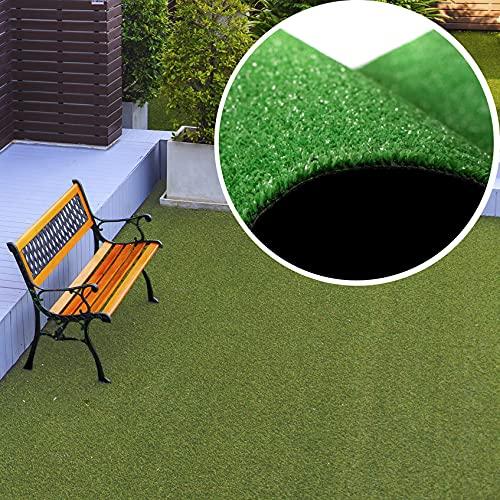 TAPISO Rasenteppich Kunstrasen Grün New 2021 Balkon Terrasse Garten Outdoor Indoor Meterware Kunststoffrasen Teppich Echtrasenoptik Wetterfest 133 x 260 cm