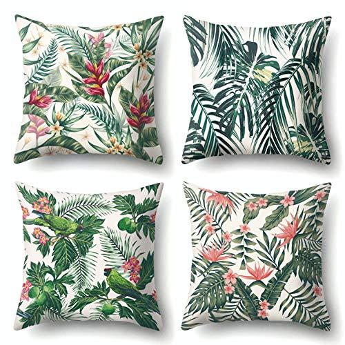 J-MOOSE - 4 fundas de cojín tropical plantas estampadas de algodón y lino para dormitorio, salón, oficina, coche, sofá, decoración para casa, 45 x 45 cm (Tropical Plantes)