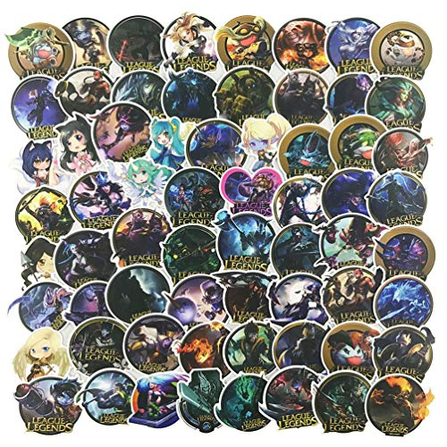 100Pcs LOL League of Legends MOBA Game Stickers for Laptop, Vinyl Skateboard Decal for Cool Teen&Adult, Stickers for Water Bottle Luggage Guitar Travel Case