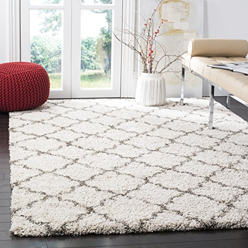 SAFAVIEH Hudson Shag Collection SGH282A Moroccan Trellis Non-Shedding Living Room Bedroom Dining Room Entryway Plush 2-inch Thick Area Rug, 7' x 7' Square, Ivory / Grey