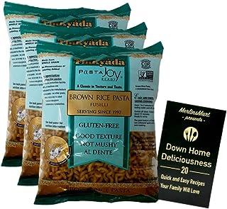 Tinkyada Gluten-Free Brown Rice Pasta | Fusilli (16 Ounces) | 3 Count Plus Recipe Booklet Bundle