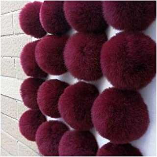 Creative Keychain 1PC 6CM/2.4-in Fluffy Pompon Charms PomPom Real Rabbit Fur Keychains Keryrings DIY Curtain Pillow Clothi...