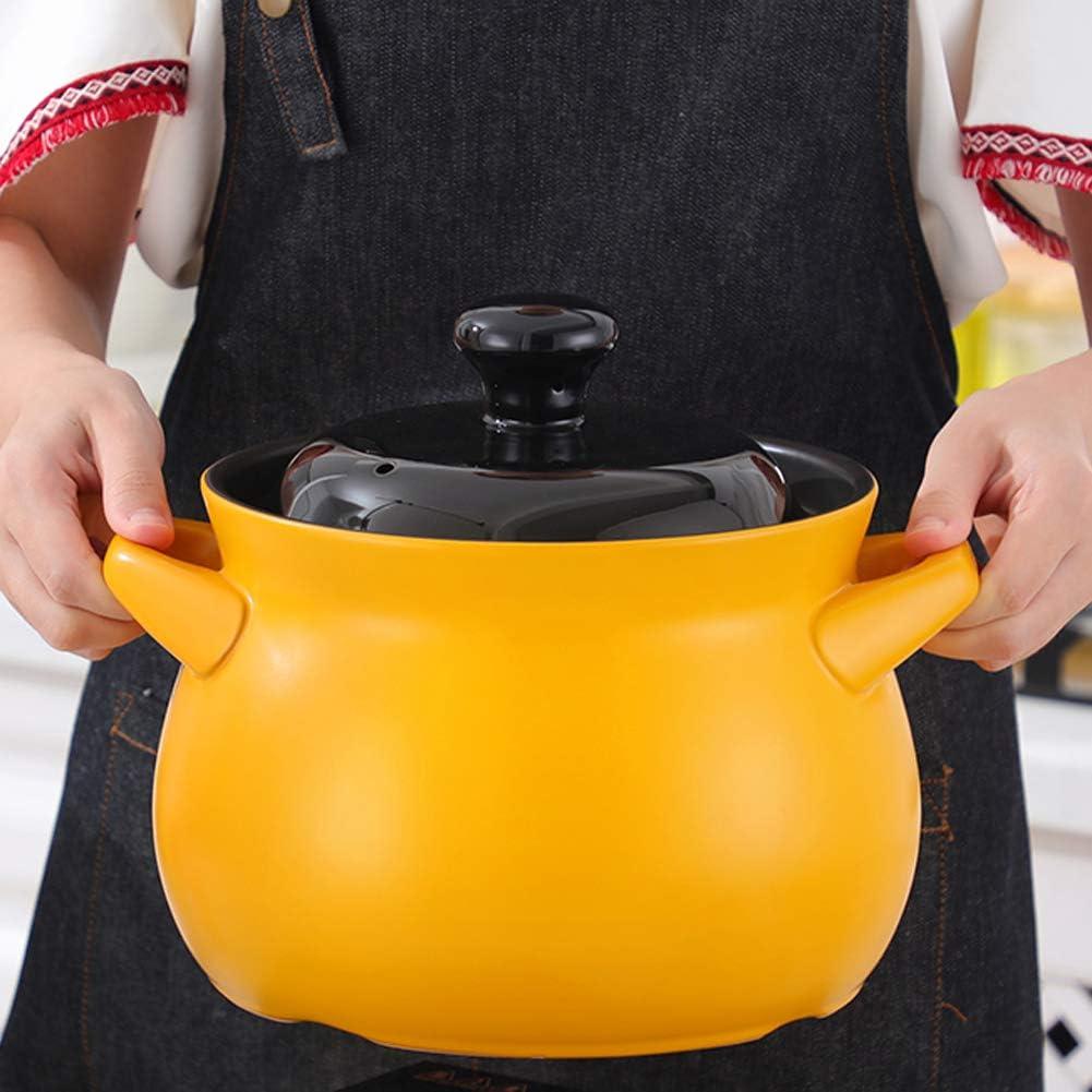 Stovetop Ceramic Casserole,Ceramic Cookware,Duty Heat Proof Ceramic Pot,Bean Pot 2.4Qt, Green Pot Black Cover