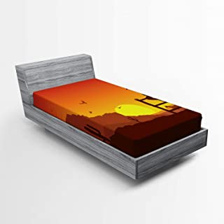 Ambesonne Western Fitted Sheet, Silhouette of Cowboy in Wild West Sunset Scene American Culture Image Print, Soft Decorative Fabric Bedding All-Round Elastic Pocket, Twin Size, Orange