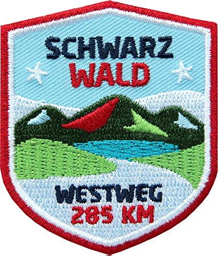 2 x Abzeichen gestickt 51 x 60 mm / Westweg im Schwarzwald - Fernwanderweg von Pforzheim bis Basel / hochwertige Applikation Aufnäher Aufbügler Flicken Bügelbild Patch für Kleidung Rucksack