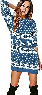 YTZL Kerstjurk voor dames, gebreide jurk met lange mouwen, elegante winterjurk, feestelijke mini-jurk, kersttrui, feestjur...