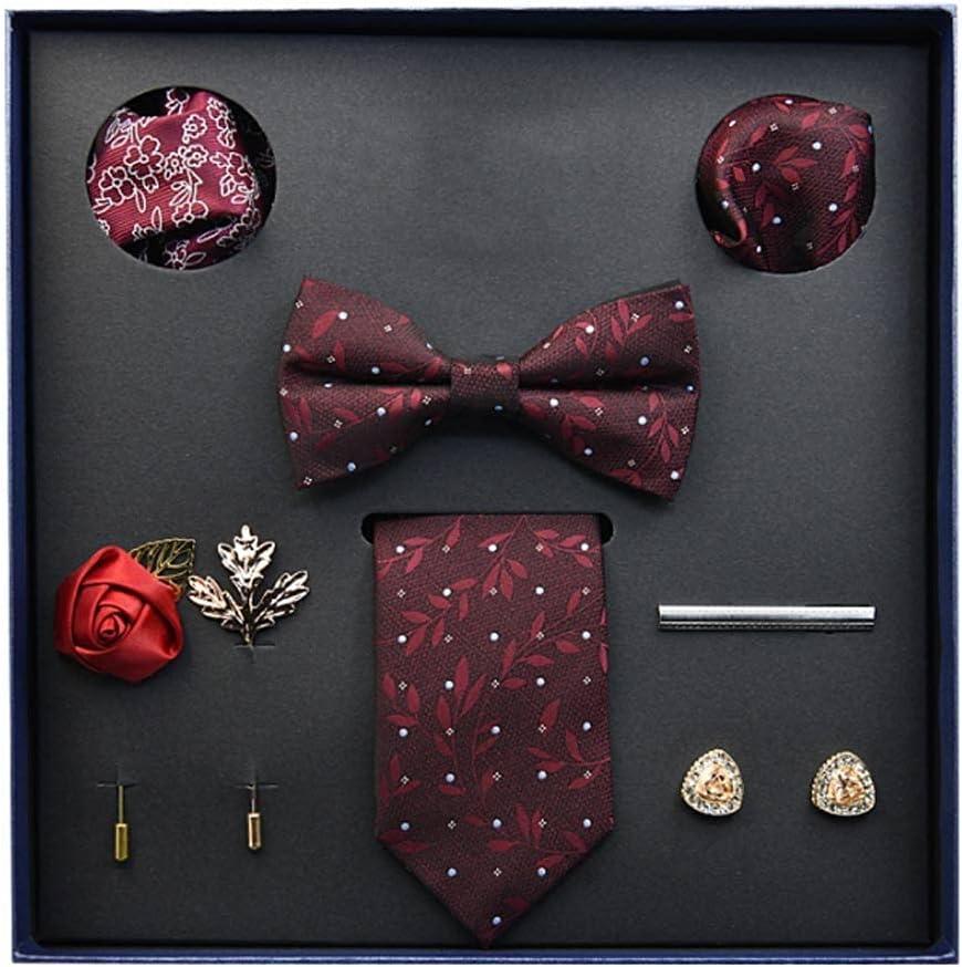 ZZABC NSLDXZPJ Gift Box Packing Men's Vintage Floral Formal Cravat Ascot Tie Self British Style Gentleman Silk Tie Set (Color : D)