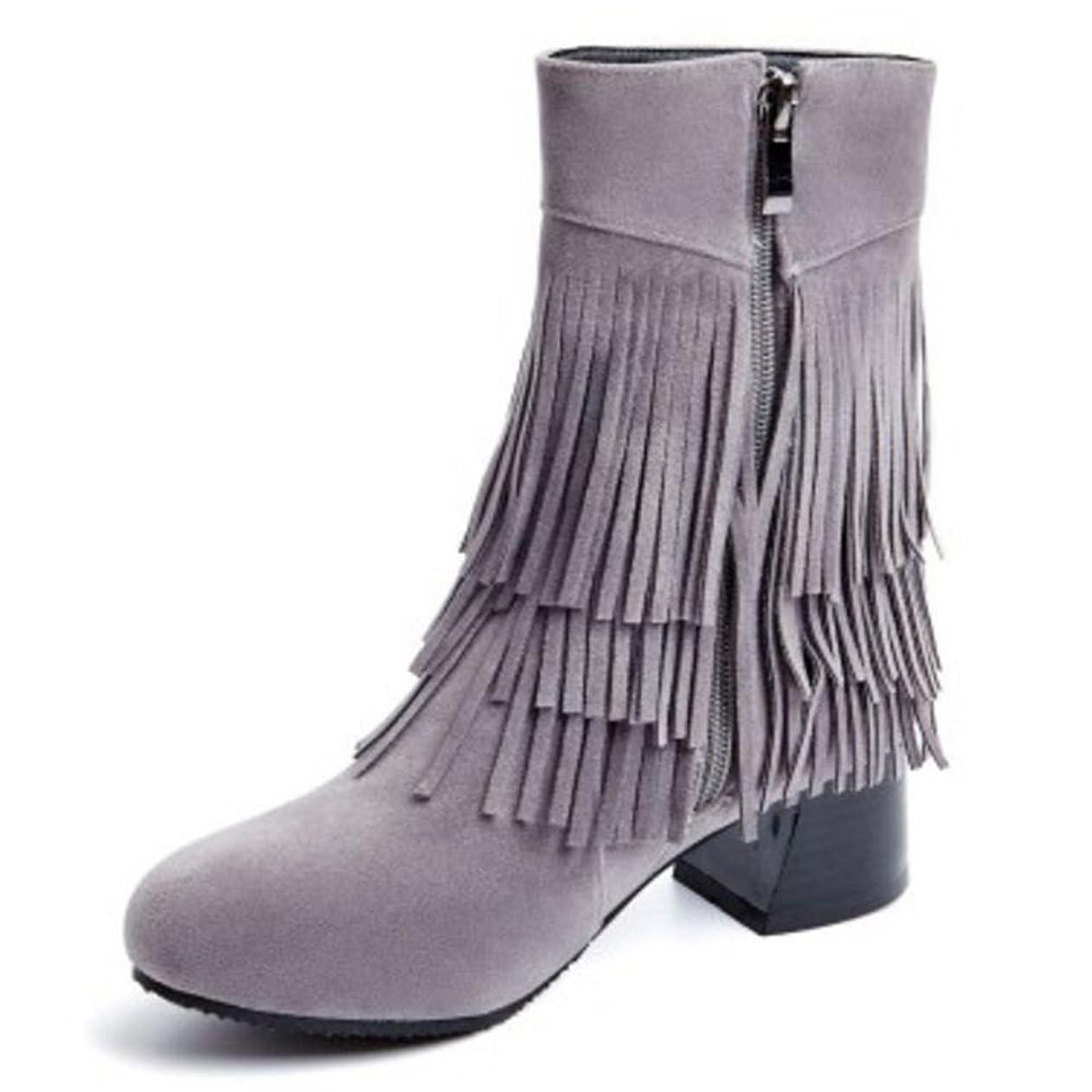 視線毛皮尊敬する[FANIMILA] レディース クラシック フリンジ ブーツ サイドジップ 太ヒール ショートブーツ
