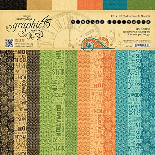Graphic 45 Vintage Hollywood 12x12 Patronen & Massief Papier Pad, Meerkleurig, 31,6 x 30,5 x 0,6 cm