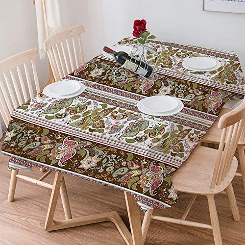 Wachstuch Tischdecke 140x200 cm,Arabesque, ethnische orientalische persische Blumenmuster mit Paisle,Rechteckige Tischabdeckung Gartentischdecke für Gastronomie, Feste, Party, Hochzeiten oder Haushalt