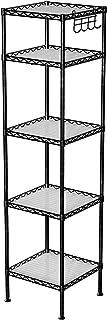 SONGMICS Estantería de Baño, Estantería de Metal, Carga Total de 100 kg, con 5 Hojas de PP, Ganchos Desmontables, 30 x 30 x 123,5 cm, Diseño Expandible, para Espacios Pequeños, Negro LGR23BK