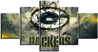 Green Bay Packers NFL Pictures for Wall Art Paintings 5 Piece Canvas Living Room Decor Abstract Artwork House Decoration Poster Prints Framed Ready to Hang(60''Wx32''H)
