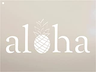Aloha Pineapple Stencil by StudioR12   Reusable Mylar Template Paint Wood Sign - Pallet   Craft Rustic Hawaii Island Boho Home Decor   DIY Summer Vacation Beach Welcome Poolhouse - Porch Select Size