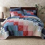 Qucover Patchwork Tagesdecke 220 x 240 cm aus Baumwolle, Bettüberwurf 220x240cm für Doppelbett, Gesteppte Decke Set mit 2 Kissenbezug, Baumwolldecke im Landhaus Stil