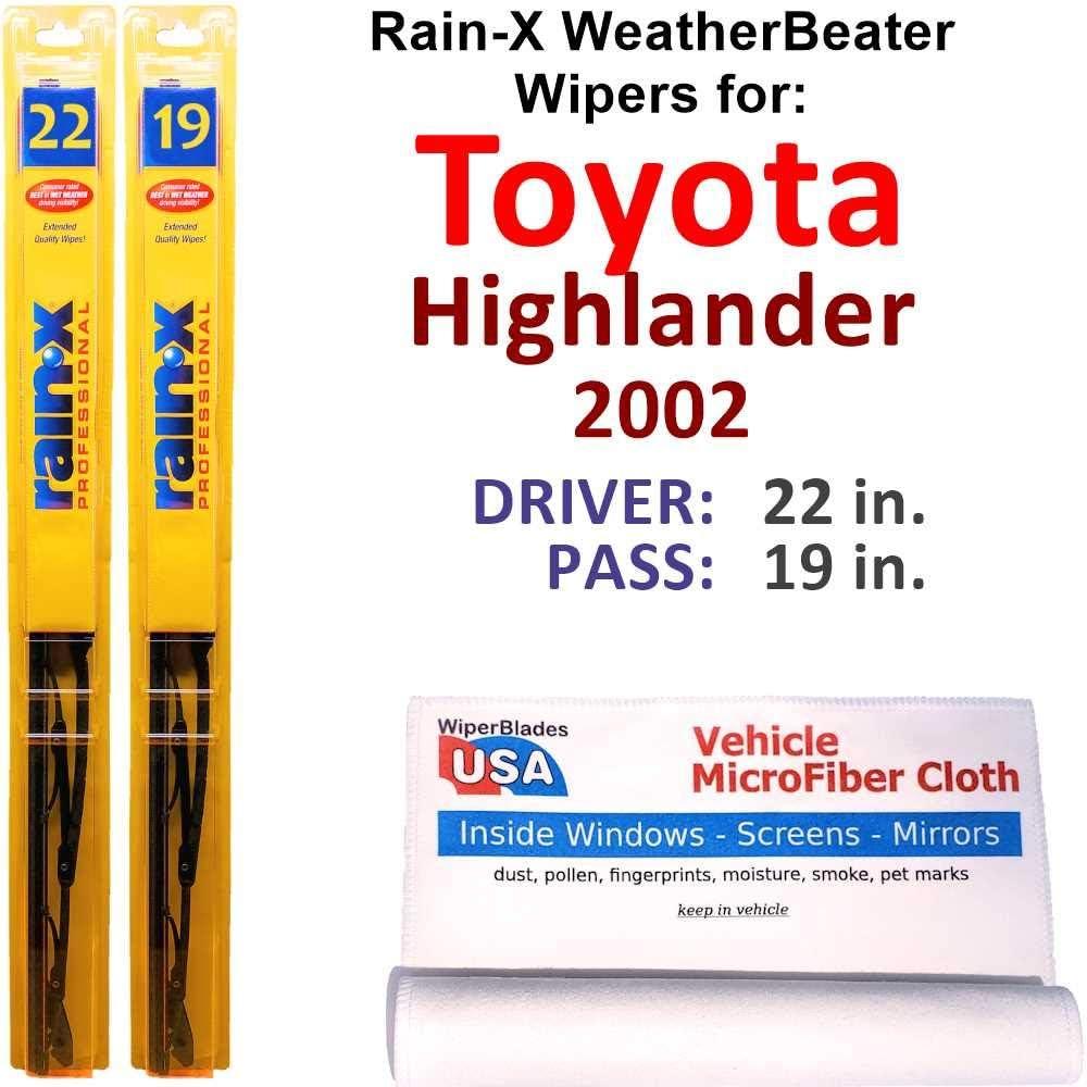 Rain-X Jacksonville Mall New life WeatherBeater Wiper Blades for Set 2002 Highlander Toyota