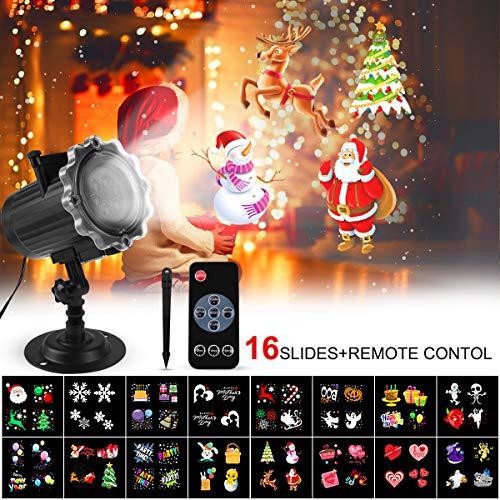 Proyector Navidad LED, FOCHEA Luces de Proyector Interior y Exterior con 16 Diapositivas Reemplazables y Control Remoto RF para Halloween, Navidad, Valentín, Fiesta, Cumpleaños
