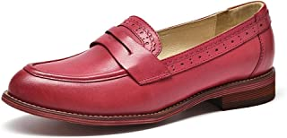 Beau Today Women's Casual Genuine Leather Brogue Penny Loafers Moccasins Slip-On Flats Handmade Shoes