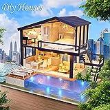 didatecar 3D Puppenhaus DIY Dollhouse Kit Licht Modell Kreativ Geburtstag Weihnachts Geschenk Mit...