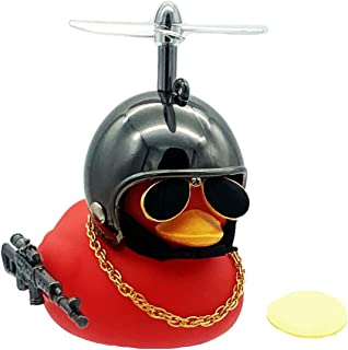 Aimexn Rubber Duck Car Dashboard Decoration Squeeze Toy Red Duck with Propeller Helmet