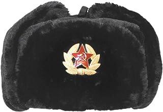 0a6d59e924 Islander Fashions Russe Chapeau De Trappeur Chapeau Avec Badge Sovitique  Fausse Fourrure Ushanka Cosaque Flaps Chapeau