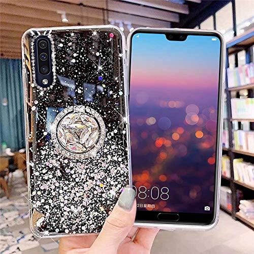 Kompatibel mit Samsung Galaxy A50 Hülle mit Diamant Ring Ständer,Handyhülle Galaxy A50 Glänzend Bling Glitzer Stern Transparent Silikon Hülle TPU Schutzhülle Case Tasche,Schwarz