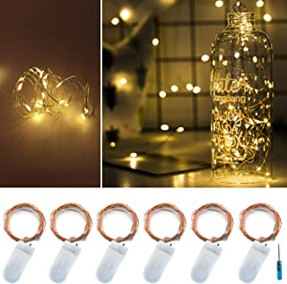 Twinkle Star 20 LED 6.5 FT Fairy Copper String Lights Cell Battery Operated with Screwdriver, Firefly Lights Starry String Lights for Indoor, Outdoor, Party, Table Decoration (6 Pack, Warm White)