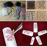PMSMT Nuevo llega 50 unids/Set 3D Pegatinas de uñas de Flores Autoadhesivas Mezcla de Colores Baratos Decoraciones artísticas para uñas calcomanía de uñas Herramientas para uñas DIY