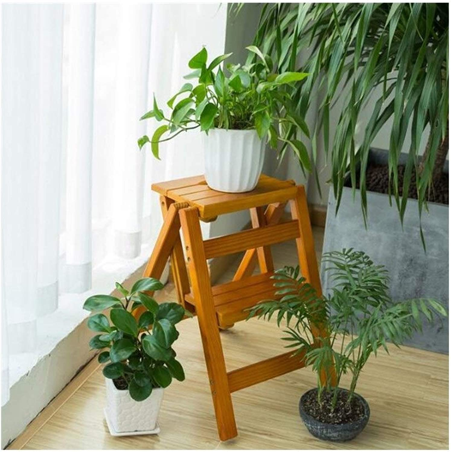 Two-Story Stair stools, Home Wood Anti-Slip Folding ladders, Multi-Functional Step Stool, Creative Kitchen Ladder Stool, (color   B)
