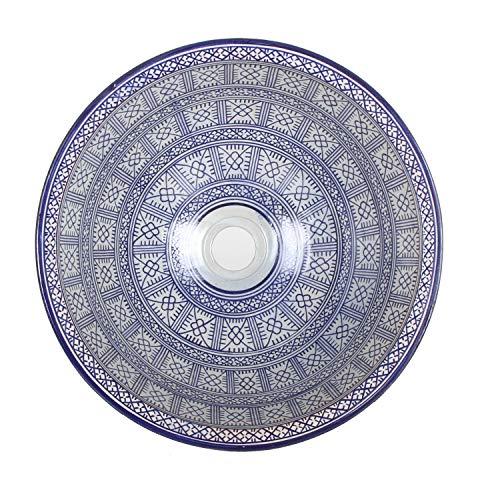 Mediterrane Keramik-Waschbecken Fes91 rund Ø 40 cm bunt Höhe 18 cm Handmade Waschschale | Marokkanische Handwaschbecken Aufsatzwaschbecken für Bad Waschtisch Gäste-WC | TOP Kunsthandwerk aus Marokko