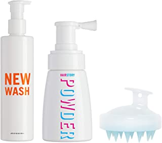 New Wash KIT - Hair Cleanser 8oz + Hair Powder 1.35oz + Scalp Brush for Cleansing and Conditioning