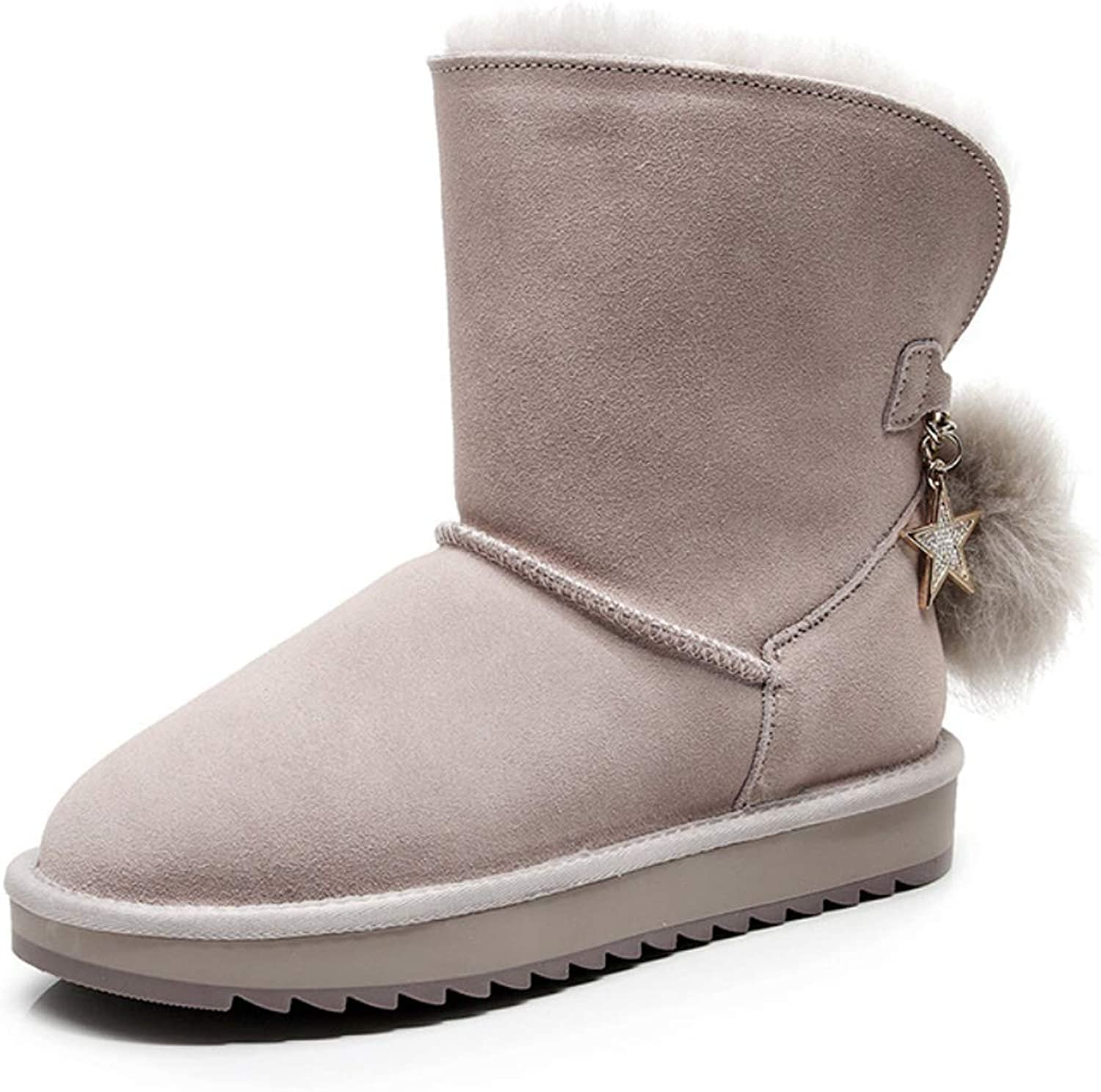 Womens Boots with Flat Heel Cute Pompom Star Chain Snow Boots for 2018 Winter Warm Non-Slip Ankle Boots