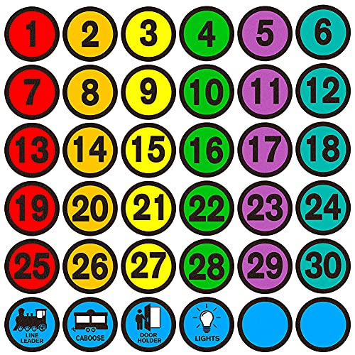 WHATSIGN Number Spot Markers Stickers,4' Number Spot Markers and Labels,Classroom Line-up Spots Stickers,Number Spot Helpers Colorful Markers for Classroom Kindergarten School Decoration,36Pcs