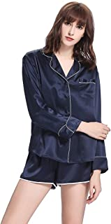 LilySilk Silk Pyjamas Shorts Set Long Sleeve 22 Momme Pure Silk