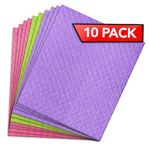 PINK RHINO LABS Swedish Dishcloths for Kitchen - Eco-Friendly Kitchen Towels and Dishcloths Sets Reusable Paper Towels - Cellulose Dish Sponge Cleaning Cloth - Kitchen Dish Towels