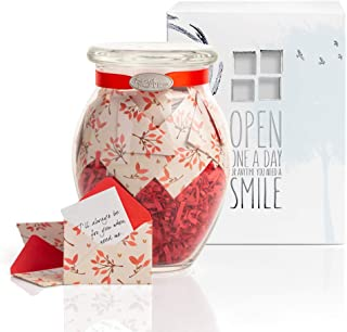 KindNotes Glass Keepsake Gift Jar with Sympathy Messages - Leaves of Love