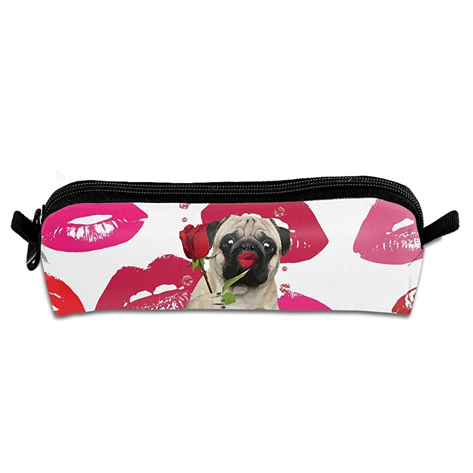 Pug Kiss Rose Red Lip Canvas Cosmetic Pen Pencil Stationery Pouch Bag Case