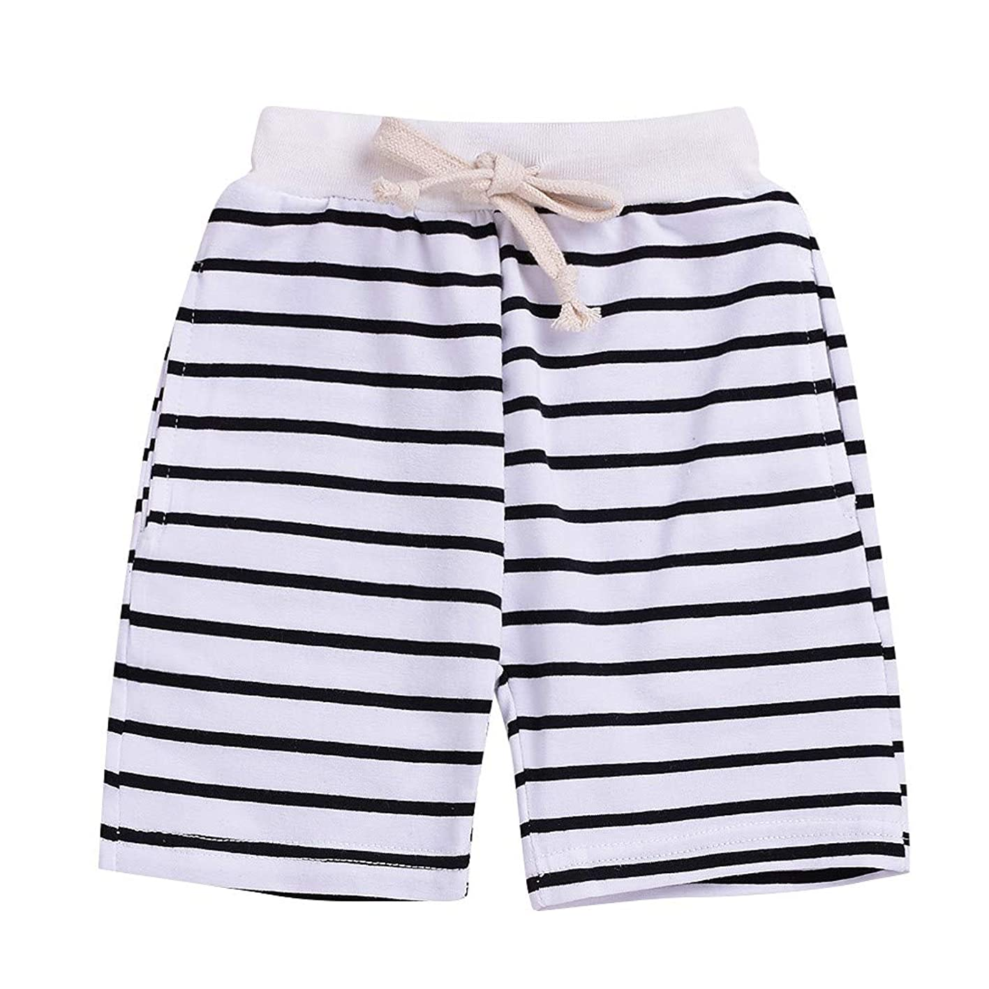 Youmymine Children Kids Boys Girls Pant Summer Comfort Striped Print Lace-up Shorts Pants amylbmaeqgj511