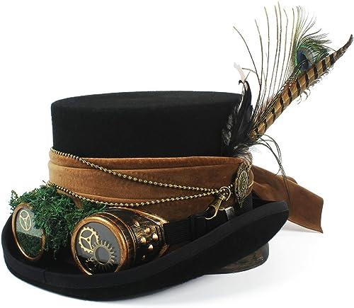 LIXUE Hut Hut Pirat Hut Hut mit Brille Steampunk Steampunk Zylinder (Farbe   Schwarz Größe   61 cm)