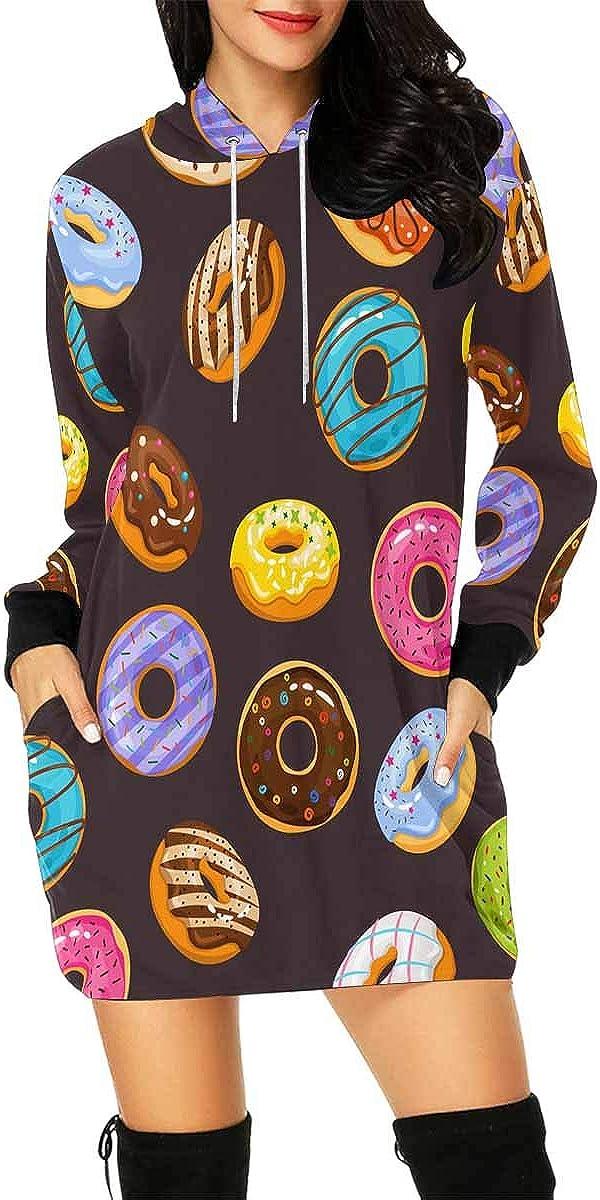 InterestPrint Women's Long Sleeve Mini Hoodie Dress Colorful Floral Pattern Drawstring Pullover Sweatshirt