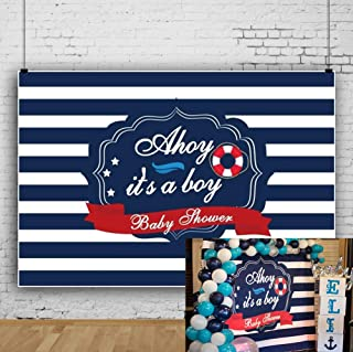 Laeacco 7x5ft Ahoy It's A Boy Baby Shower Vinyl Photography Background Marine Theme Life Ring Navy Blue Striped Backdrop Gender Reveal Party Banner Boy Baby Shower Wallpaper Studio Props