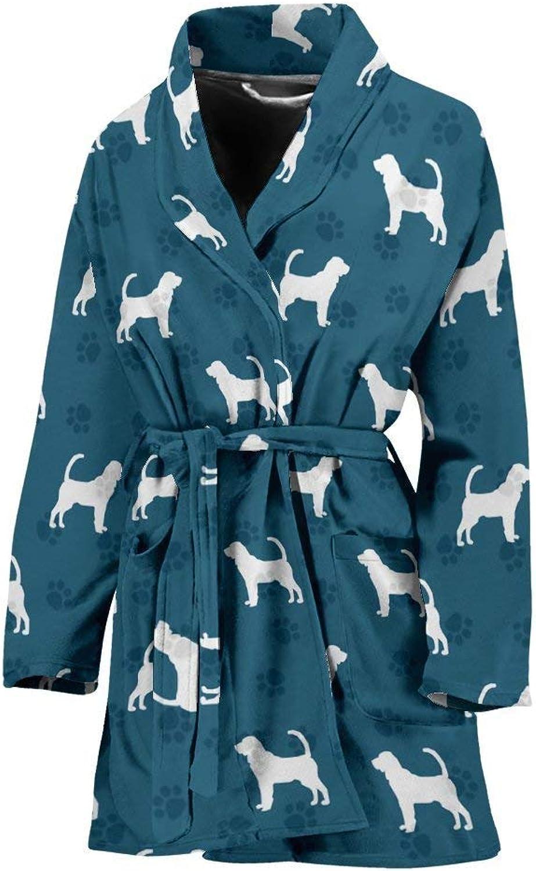 Bloodhound Dog Pattern Print Women's Bath Robe