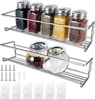 2 Pack Especiero Cocina Soportes para Botes de Especias, KONKY Estanteria Cocina Adhesivo, Organizador de Especias y Hierbas, Spice Rack Botella de Especias Poseedor