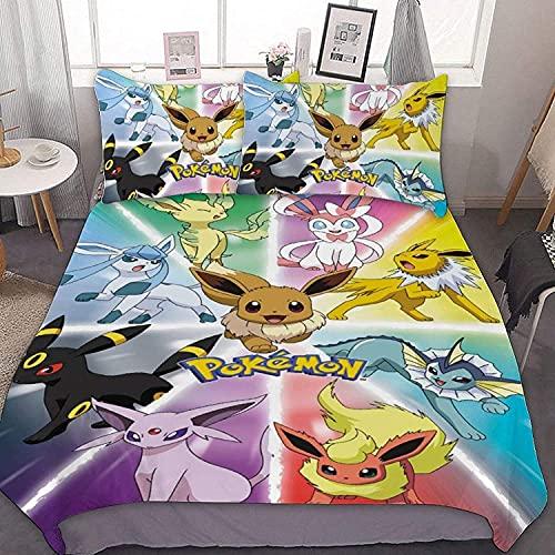 QWAS Pikachu Juego de funda de edredón Pokémon, 100% microfibra, muy suave y cómodo, adecuado para todas las estaciones (A02,220 x 240 cm + 50 x 75 cm x 2)