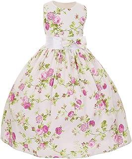 48f17f654 Shanil Inc Little Girls Fuchsia Floral Print Bow Special Occasion Dress 2T-6
