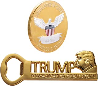 Donald Trump 2020 Keep America Great Two-tone Coin Collecting and Make America Great Again Refrigerator Magnets MAGA Bottle Opener